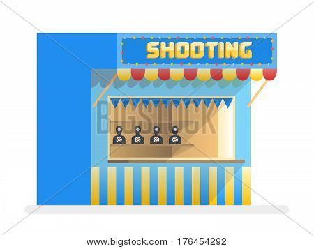 Cartoon shooting gallery. Amusement park vector illustration.