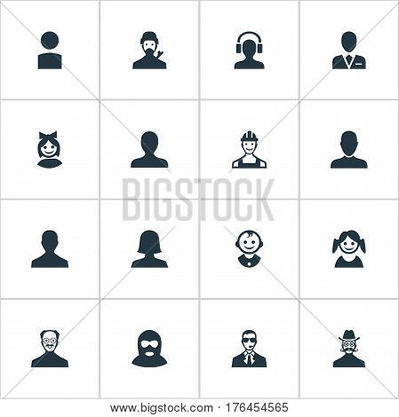 Vector Illustration Set Of Simple Avatar Icons. Elements Moustache Man, Felon, Whiskers Man And Other Synonyms Felon, Bodyguard And Small.
