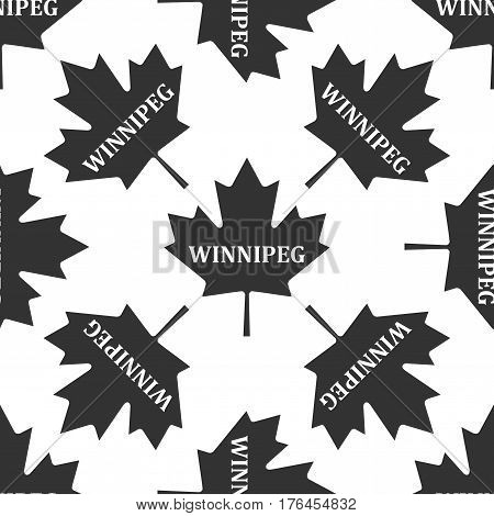 Canadian maple leaf with city name Winnipeg icon seamless pattern on white background. Vector Illustration