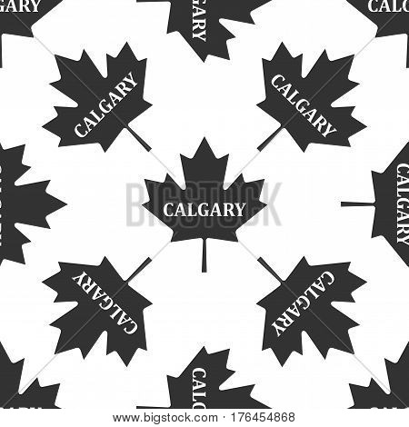 Canadian maple leaf with city name Calgary icon seamless pattern on white background. Vector Illustration