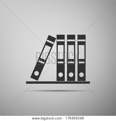 Office folders with papers and documents. Archives folder flat icon on grey background. Vector Illustration