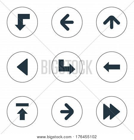 Vector Illustration Set Of Simple Cursor Icons. Elements Right Direction, Left Direction, Reduction And Other Synonyms Direction, Ahead And Decline.