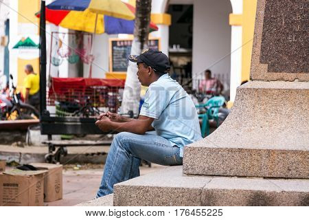 Man In Plaza In Mompox, Colombia
