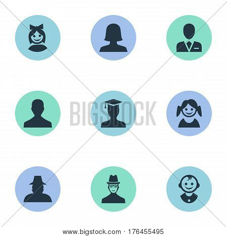 Vector Illustration Set Of Simple Member Icons. Elements Agent, Young Shaver, Postgraduate And Other Synonyms Business, Boy And Workman.