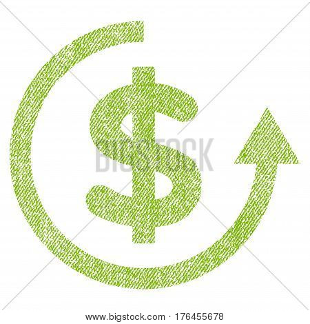 Refund vector textured icon for overlay watermark stamps. Fabric light green vectorized texture. Symbol with dirty design. Rubber seal stamp with fiber textile structure.