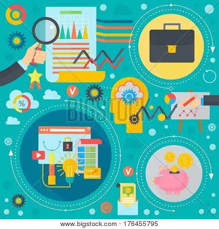 Business and finance flat concept. Business infographics template icons in circles design, web elements, poster banners, Vector illustration