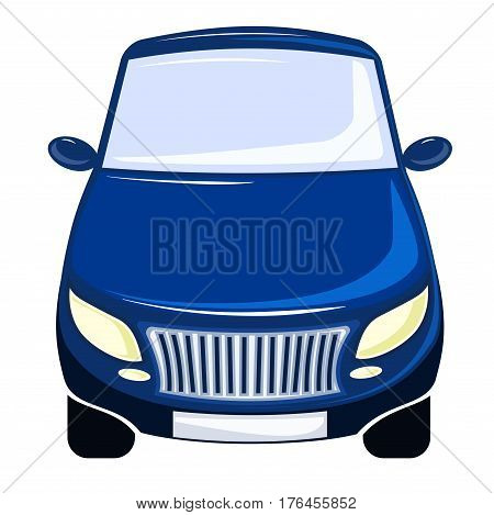 vector illustration blue car, front view, bumper and hood, isolated on white