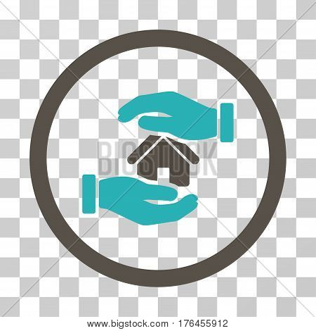 Realty Insurance Hands icon. Vector illustration style is flat iconic bicolor symbol grey and cyan colors transparent background. Designed for web and software interfaces.