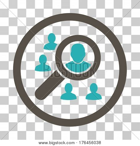 Search People icon. Vector illustration style is flat iconic bicolor symbol grey and cyan colors transparent background. Designed for web and software interfaces.