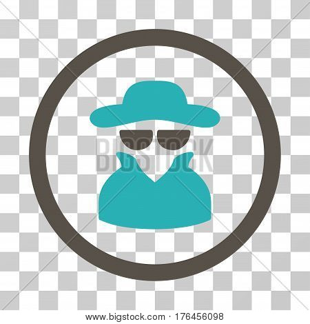 Spy icon. Vector illustration style is flat iconic bicolor symbol grey and cyan colors transparent background. Designed for web and software interfaces.