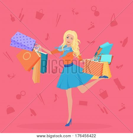 Pretty young blond with the shopping bags vector illustration. Shopping icons backgrouns