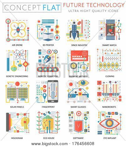 Infographics mini concept Future technology icons for web. Premium quality color conceptual flat design web graphics icons elements. Future technology concepts
