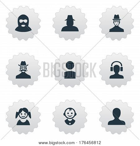 Vector Illustration Set Of Simple Human Icons. Elements Little Girl, Insider, Moustache Man And Other Synonyms Daughter, Mustache And Spy.