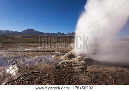 Geyser erupting activity in the Geysers del Tatio field in the Atacama Desert Chile