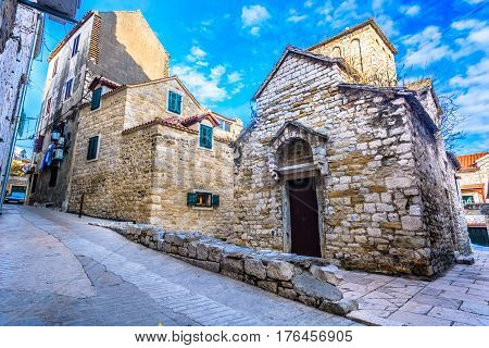 Old medieval street in city center of old town Split, popular touristic destination in Croatia.