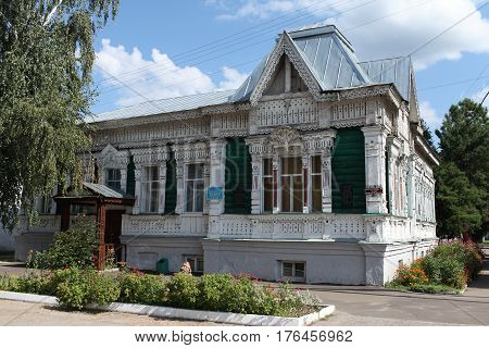 August 23 2013 Narovchat Penza region Russia Sovetskaya street 40 previously bazaar-Friday urban wooden House 19th century