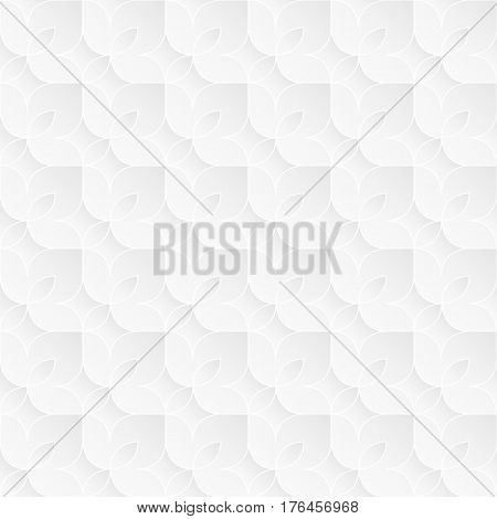 Neutral white texture. Decorative floral background with 3d tessellated paper effect. Vector seamless repeating pattern.