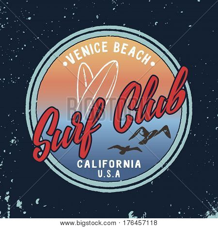 Vector Summer Surf Club retro badge. Surfing print design for t shirt, apparel, clothes.
