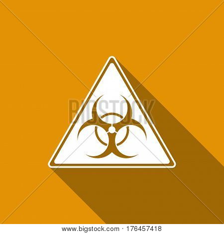 Triangle sign with a Biohazard sign flat icon with long shadow. Vector Illustration