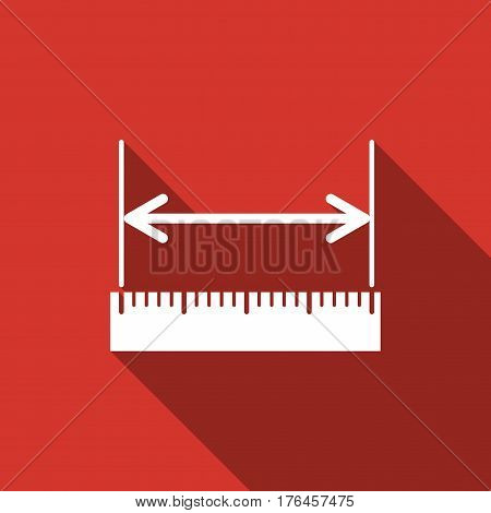 The measuring height and length icon. Ruler, straightedge, scale symbol flat icon with long shadow. Vector Illustration