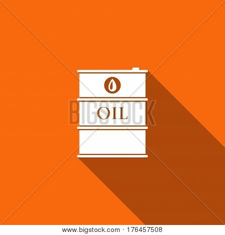 Barrel oil flat icon with long shadow. Vector Illustration