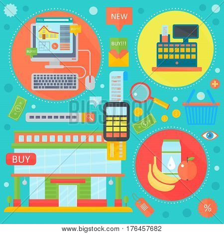 Online shopping, mobile marketing and digital marketing infographics template icons in circles design, web header E-commerce icons. Vector illustration