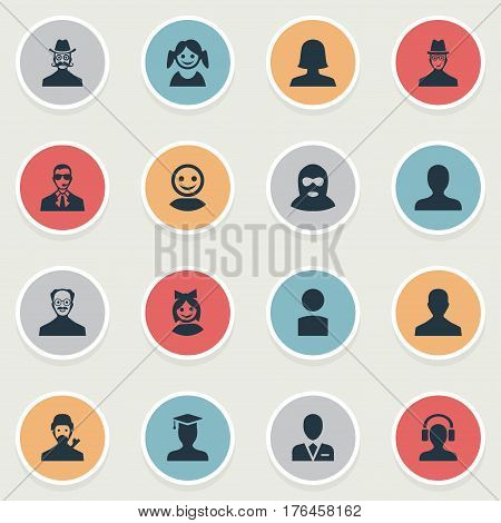 Vector Illustration Set Of Simple Human Icons. Elements Spy, Girl Face, Insider And Other Synonyms Workman, Web And Avatar.