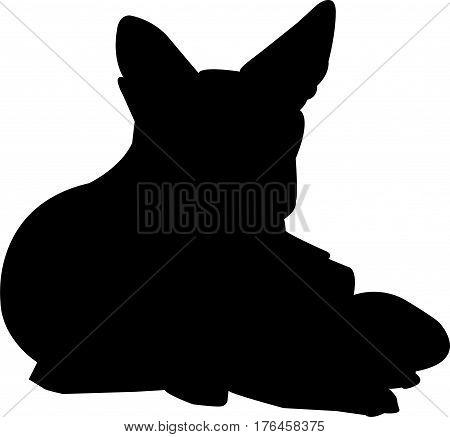 Silhouette of a lying black backed Jackal - digitally hand drawn vector illustration