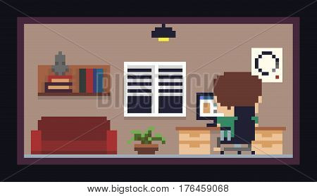 Pixel art room with bookshelf, sofa, window, flower and guy, sitting by the table with computer display