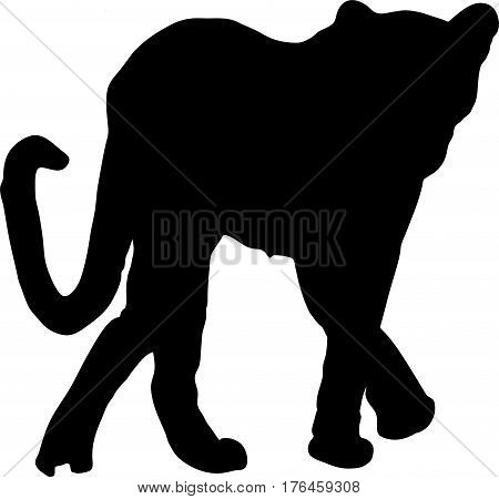 Silhouette of a walking cheetah - digitally hand drawn vector illustration