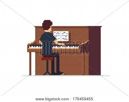 Pixel art guy playing piano, isolated on white background