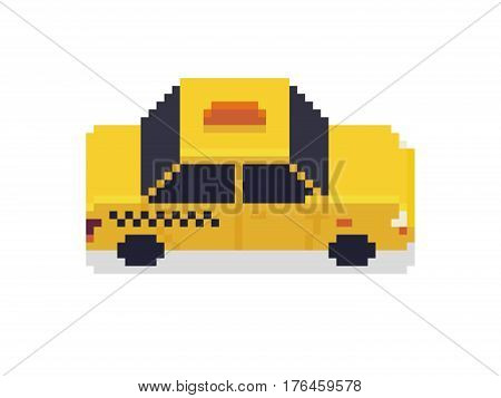 Pixel art taxi car isolated on white background