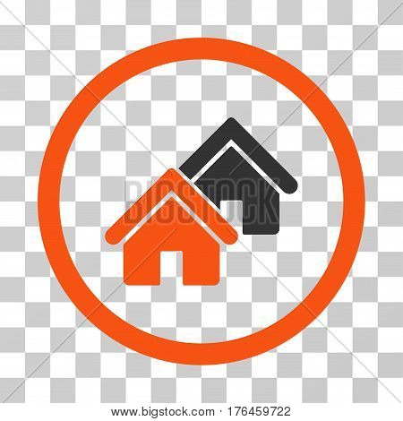 Realty icon. Vector illustration style is flat iconic bicolor symbol orange and gray colors transparent background. Designed for web and software interfaces.