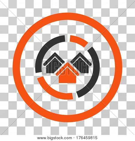 Realty Diagram icon. Vector illustration style is flat iconic bicolor symbol orange and gray colors transparent background. Designed for web and software interfaces.