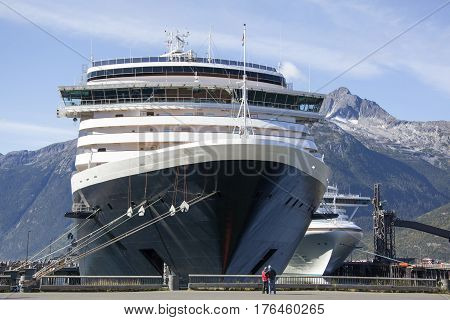 Cruise liners docked in Skagway town popular touristic place in Alaska.