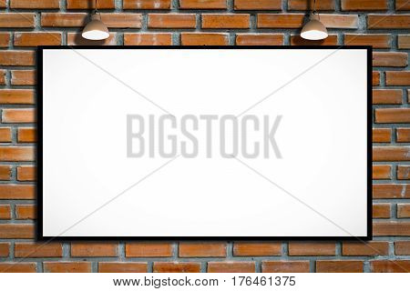 Huge poster advertising billboard on brick wall with lamp Advertising poster sign Template mock up for adding your design and adding more text. text.