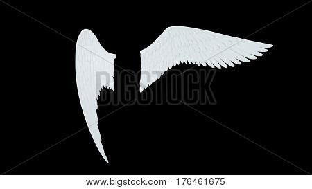 Angel white wings isolated on a black background 3D illustration render.