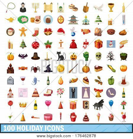 100 holiday icons set in cartoon style for any design vector illustration