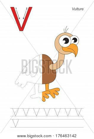 Vector exercise illustrated alphabet, kid gaming and education. Learn handwriting. Half trace game. Easy educational kid game. Tracing worksheet for letter V. Vulture.