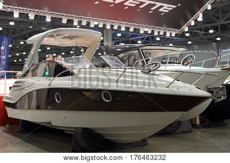 MOSCOW - MARCH 09 2017: Sport cruiser Velvette 29 Envy for 10 International boat show in Moscow. Russia.
