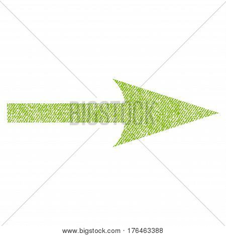 Sharp Arrow Right vector textured icon for overlay watermark stamps. Fabric light green vectorized texture. Symbol with unclean design. Rubber seal stamp with fiber textile structure.