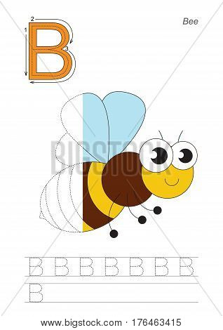 Vector exercise illustrated alphabet, kid gaming and education. Learn handwriting. Half trace game. Easy educational kid game. Tracing worksheet for letter B. The bee.