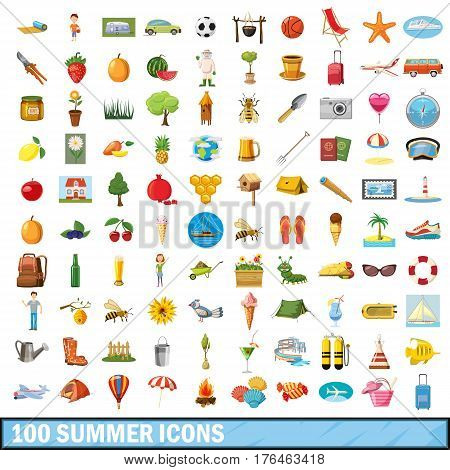 100 summer icons set in cartoon style for any design vector illustration
