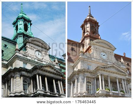 Montreal City Hall before and after restoration. Left green roof is before restoration in summer 2009. Right bronze roof is after restoration in summer 2011.