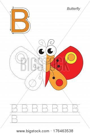Vector exercise illustrated alphabet, kid gaming and education. Learn handwriting. Half trace game. Easy educational kid game. Tracing worksheet for letter B. Butterfly.
