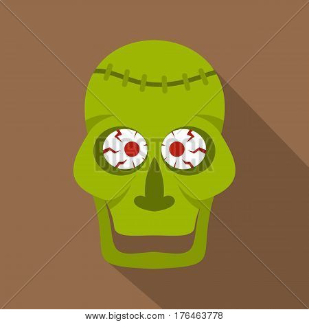 Green zombie skull icon. Flat illustration of green zombie skull vector icon for web isolated on coffee background