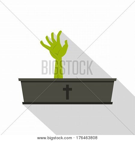 Green zombie hand coming out of his coffin icon. Flat illustration of green zombie hand coming out of his coffin vector icon for web isolated on white background