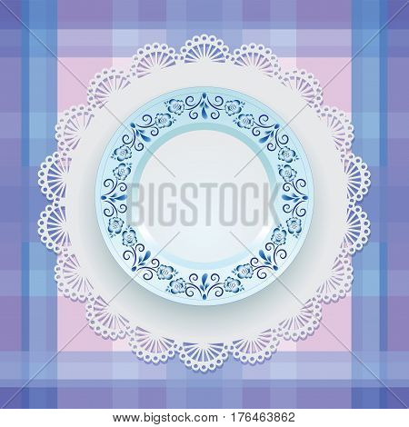 Blue ornament. Tableware. Gzhel. Plate. White porcelain with blue pattern round the border. Russian style Gzhel. Lace napkin and checkered background.