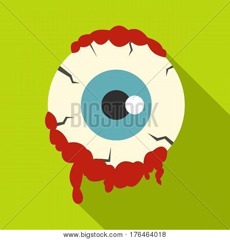 Zombie eyeball icon. Flat illustration of zombie eyeball vector icon for web isolated on lime background