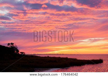 Pamlico Sound Sunset Hatteras Island Obx Nc Us